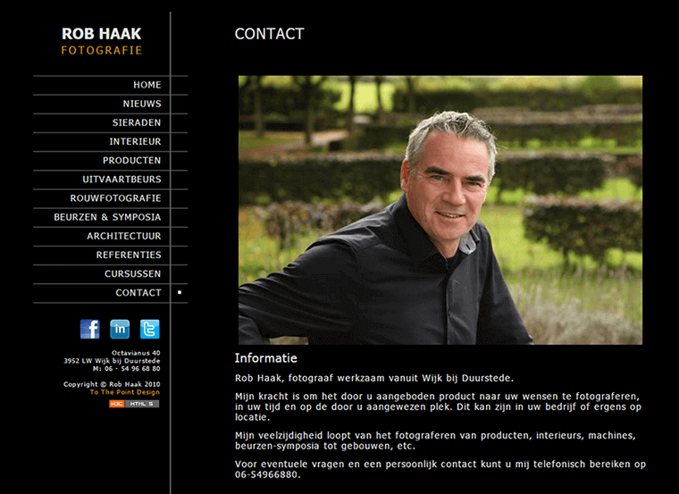 Screenshot of the website of Rob Haak Fotografie