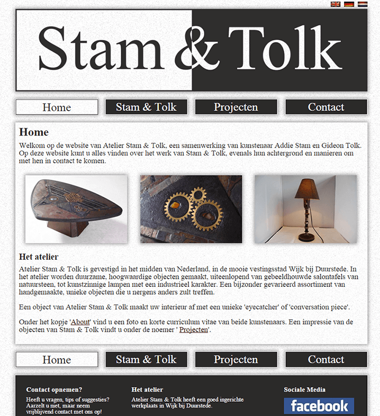 Screenshot of the website of Stam & Tolk